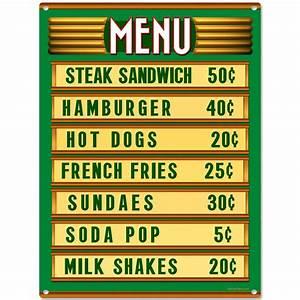 Diner Menu Board Price List Kitchen Sign Vintage Style