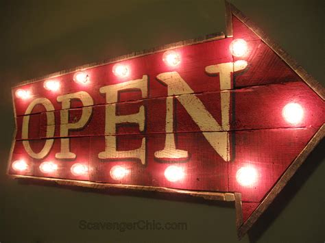 Light Signs by Pallet Wood Open Sign With Lights Diy Scavenger Chic
