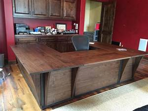 Custom Steel And Walnut Contemporary Desk/ Workstation by