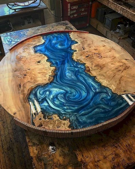 spectacular blue dining table  resin raw materials