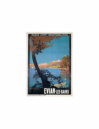 Poster Evian Travel Lacaze France Bains Les