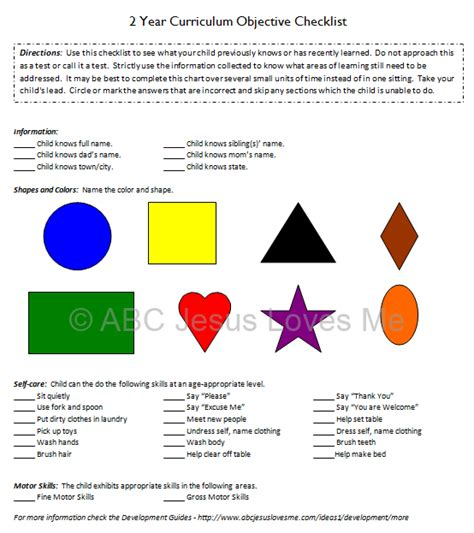 toddler and preschool objective checklist abc jesus me 4 | ObjectiveChecklist2