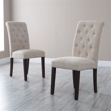 Fabric To Cover Dining Room Chairs by Morgana Tufted Parsons Dining Chair Set Of 2 Beige