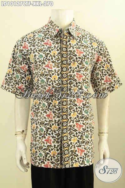 baju batik pria bagus spesial buat lelaki gemuk hem lengan pendek furing motif trendy cap