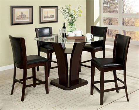 manhattan glass counter height dining table wchairs