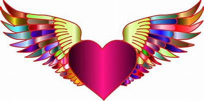 Heart Wings Clipart Flying Clip Drawing Symmetry
