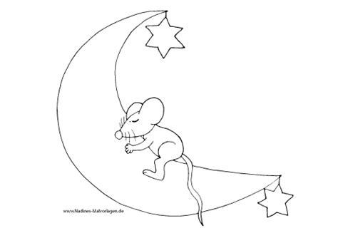 ausmalbild schlafmuetze maus auf mond mit sternen