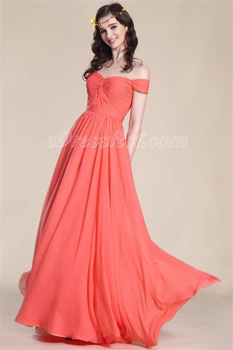 Elegant Off Shoulder Coral Bridesmaid Dress Edressit