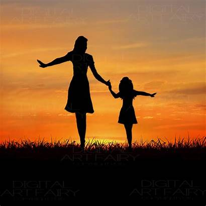 Daughter Mother Daughters Silhouette Mothers Mom Child