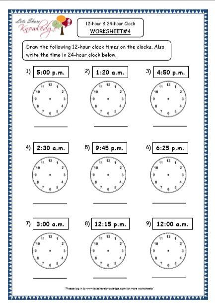 24 hour clock worksheet year 5 kidz activities