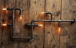 Industrial Design Lampe : steampunk lampe industrial design metall wasserrohr wandlampe water pipe lamp by ~ Sanjose-hotels-ca.com Haus und Dekorationen