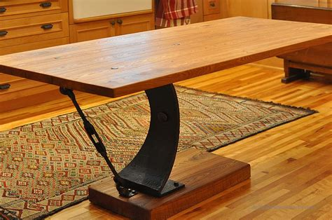 reclaimed wood and metal furniture cantilever table with metal base antique woodworks Reclaimed Wood And Metal Furniture