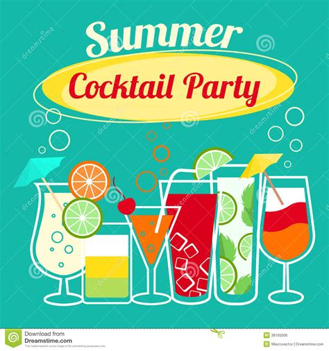 Summer Cocktails Party Template Stock Vector