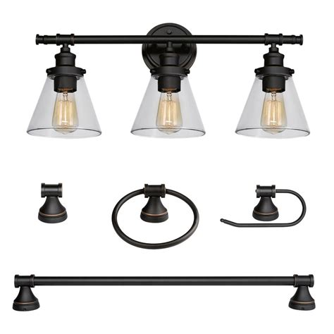Globe Bathroom Light Fixtures by Globe Electric 3 Light Rubbed Bronze 5