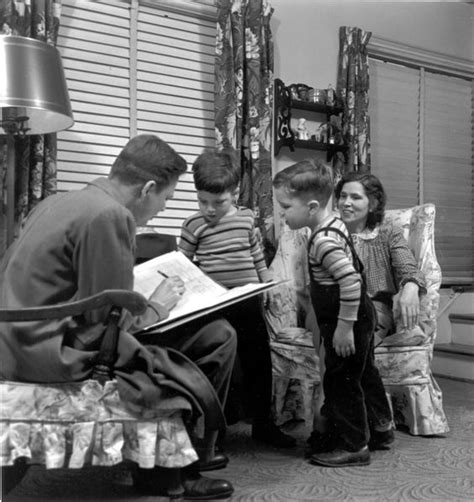 1950 Kids Watching Dad Do His Work Bird's Eye View Of The