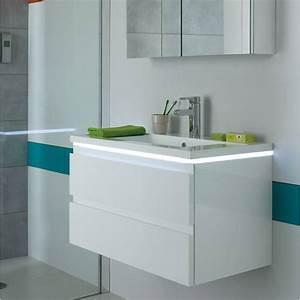Meuble Salle De Bain Blanc : meuble salle de bain halo blanc meuble vasque salle de ~ Dailycaller-alerts.com Idées de Décoration