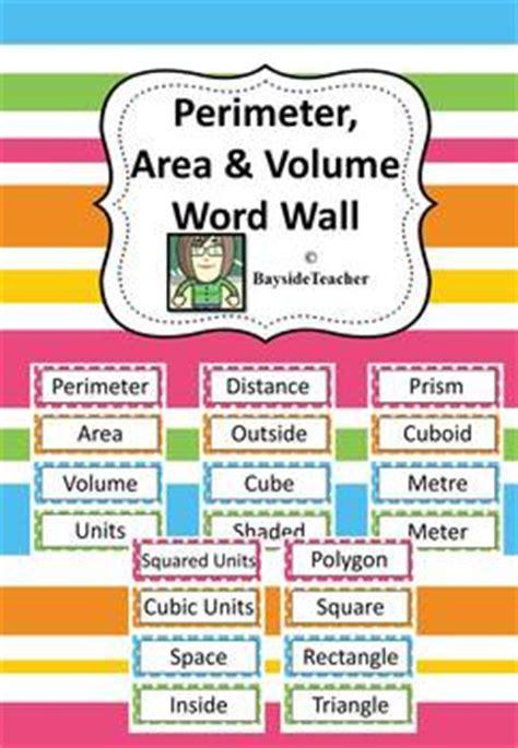 perimeter area volume word wall  words