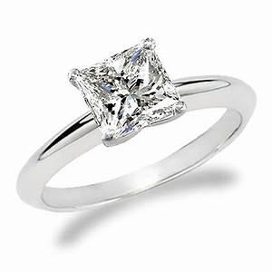 1 Carat Princess Cut Diamond Solitaire Engagement Ring 18K ...