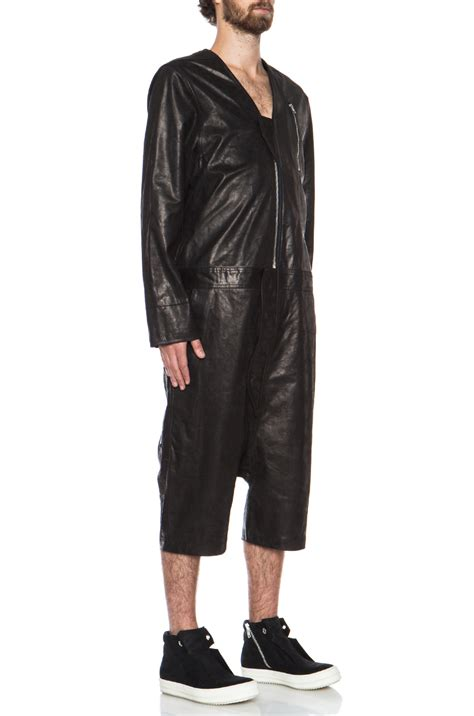 jumpsuit mens rick owens mens leather jumpsuit in black lyst