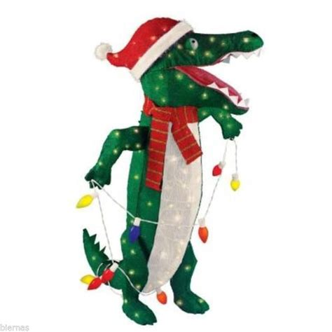 lighted tinsel alligator standing christmas yard