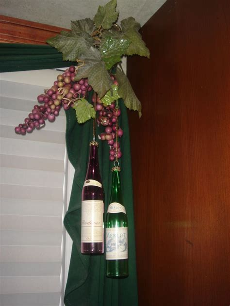 wine bottle curtains wine bottle ornaments hanging from curtains in a wine