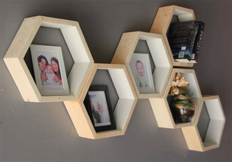Buy Geometric Hexagon Shelves Mid Century Wood Shelves