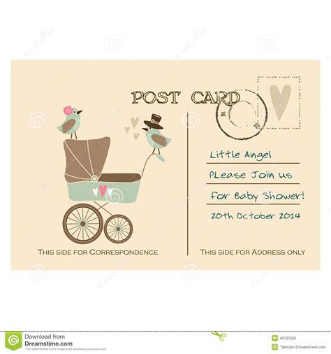 postcard invitation vintage baby shower greeting postcard invitation stock vector illustration of