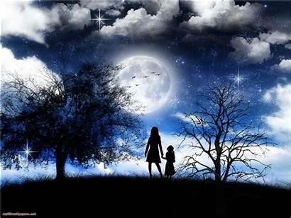 Night Moonlight Romantic Wallpapers Moonlit Mother Daughter