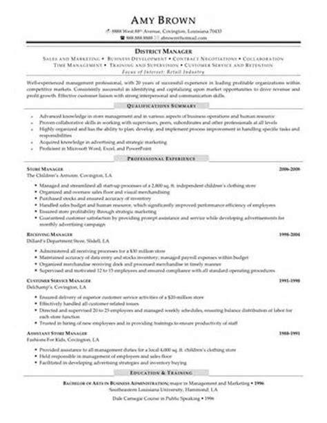 resume retail manager resume exles retail sales