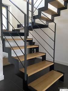 Marche Bois Escalier : fabrication escalier metal bois escalier moderne en ~ Premium-room.com Idées de Décoration