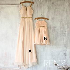 2016 mix and match bridesmaid dress long peach baby With wedding dresses with matching flower girl dress