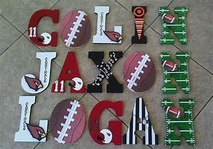 custom sports themed wooden letters by kid murals by dana With custom made wooden letters
