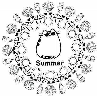 Pusheen Coloring Pages Summer Printable Cat Sheets