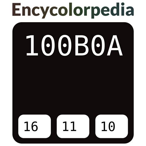 The three primary colors, red, green and blue, are made by mixing the highest intensity of the desired color with the lowest intensities of the other two #100b0a Hex Color Code, RGB and Paints