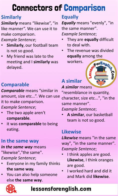 Connectors of Comparison, Definition and Example Sentences ...