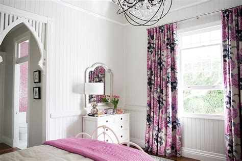 pink and gray curtains transitional s room