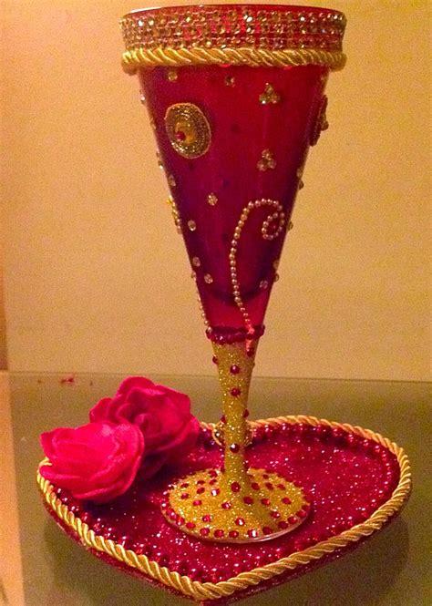 beautiful hand decorated doodh pilai ceremony glass
