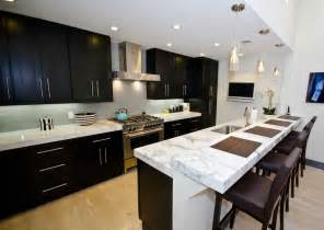 Black Cabinets With Marble Countertops by Withe Carrara Beautiful Look Kitchen Marble Countertops