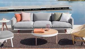 salon de jardin canape fauteuil bas et banquette With canapé bas design