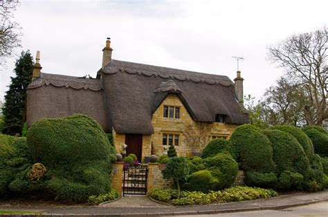 English Stone Cottage Thatched Roof