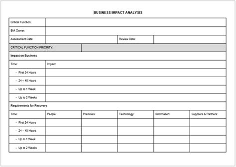 business impact analysis template impact analysis template 19 exles for excel word and pdf