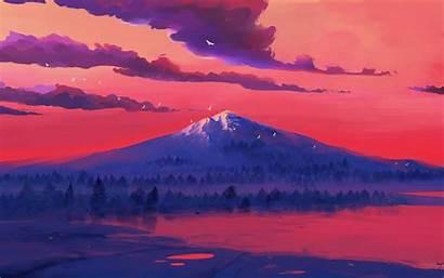 4k Mountains Minimal Wallpapers Flying Birds Lake