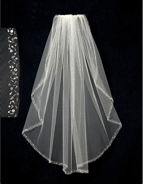 Bridal Veil With Pearl Sequin Bugle Bead And Rhinestone Edge