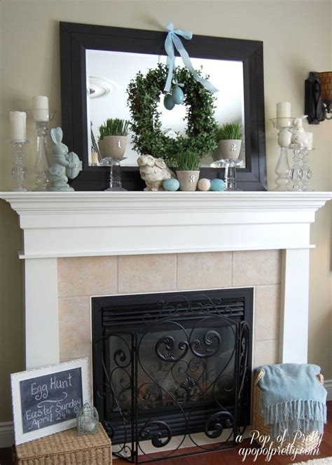 above mantel decor like the wreath hanging from ribbon easter decorating ideas mantel easter pinterest