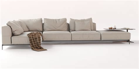 Flexform Sofa Lightpiece Sofa With Chaise Longue By
