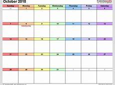 October 2018 Calendar Word calendar monthly printable