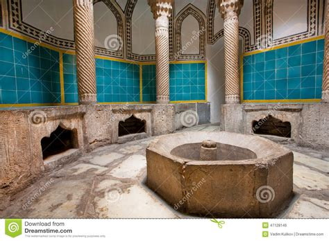 Interior Of An Old Hamam Bath With Columns And A Tiled
