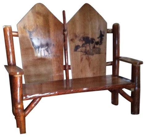 rustic sassafras woodburned seat rocker buck