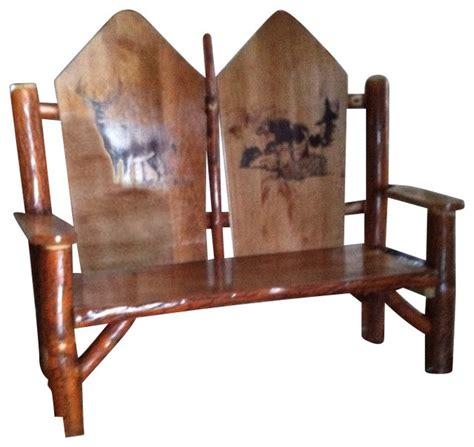 rustic sassafras woodburned seat rocker buck