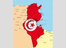 Abstract vector color map of Tunisia country colored by